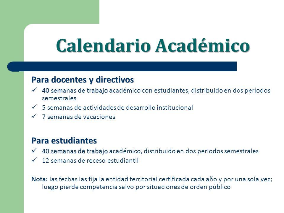 Calendario Académico Para docentes y directivos 40 semanas de trabajo 40 semanas de trabajo académico con estudiantes, distribuido en dos períodos sem