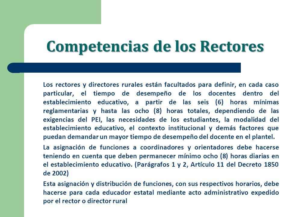 Competencias de los Rectores Los rectores y directores rurales están facultados para definir, en cada caso particular, el tiempo de desempeño de los d