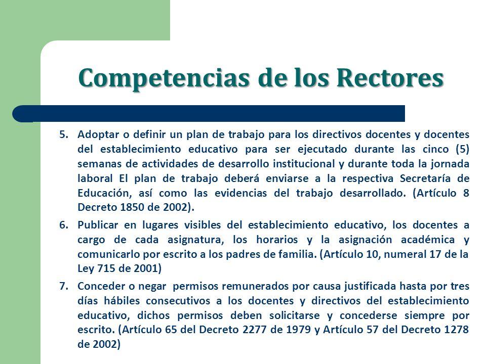Competencias de los Rectores 5.Adoptar o definir un plan de trabajo para los directivos docentes y docentes del establecimiento educativo para ser eje