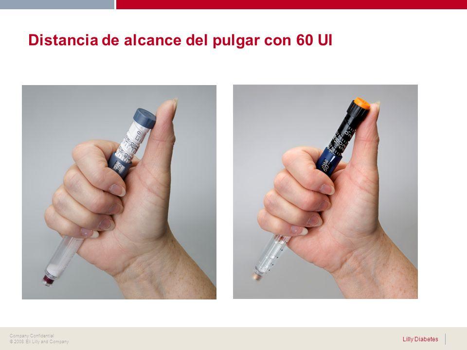 . Lilly Diabetes Company Confidential © 2008 Eli Lilly and Company Distancia de alcance del pulgar con 60 UI