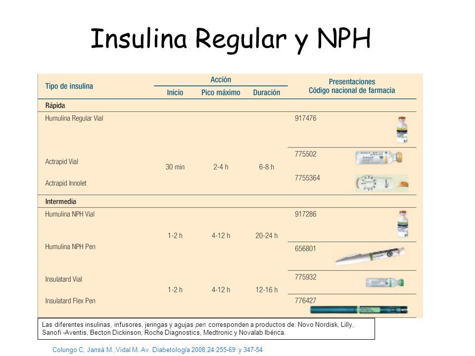 Insulina Regular y NPH Colungo C, Jansà M.,Vidal M. Av. Diabetología 2008;24:255-69 y 347-54 Las diferentes insulinas, infusores, jeringas y agujas pe
