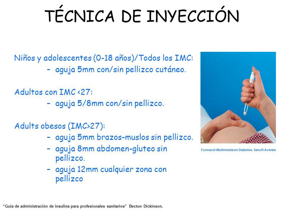 TÉCNICA DE INYECCIÓN Niños y adolescentes (0-18 años)/Todos los IMC: –aguja 5mm con/sin pellizco cutáneo. Adultos con IMC <27: –aguja 5/8mm con/sin pe