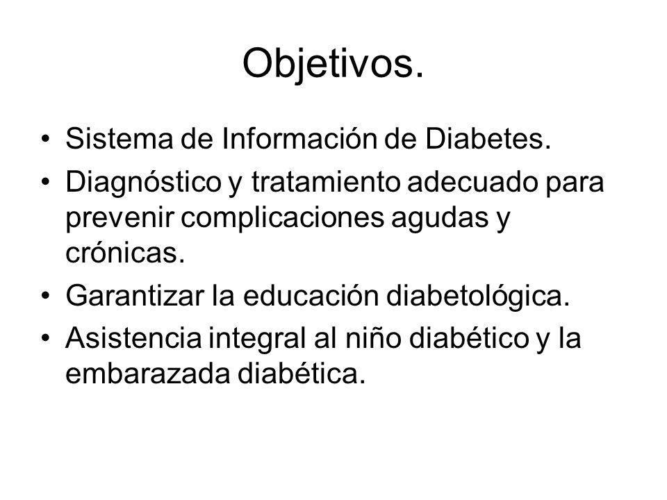 Objetivos. Sistema de Información de Diabetes. Diagnóstico y tratamiento adecuado para prevenir complicaciones agudas y crónicas. Garantizar la educac