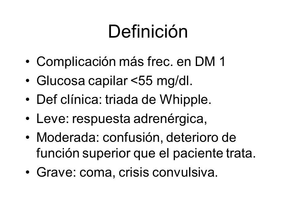 Definición Complicación más frec. en DM 1 Glucosa capilar <55 mg/dl. Def clínica: triada de Whipple. Leve: respuesta adrenérgica, Moderada: confusión,