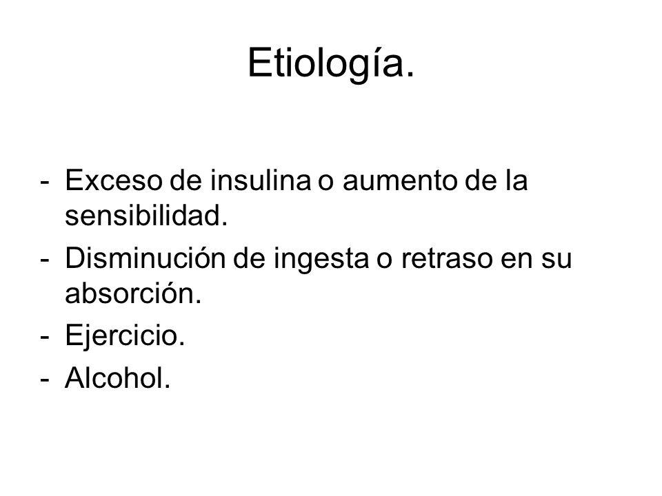Etiología. -Exceso de insulina o aumento de la sensibilidad. -Disminución de ingesta o retraso en su absorción. -Ejercicio. -Alcohol.