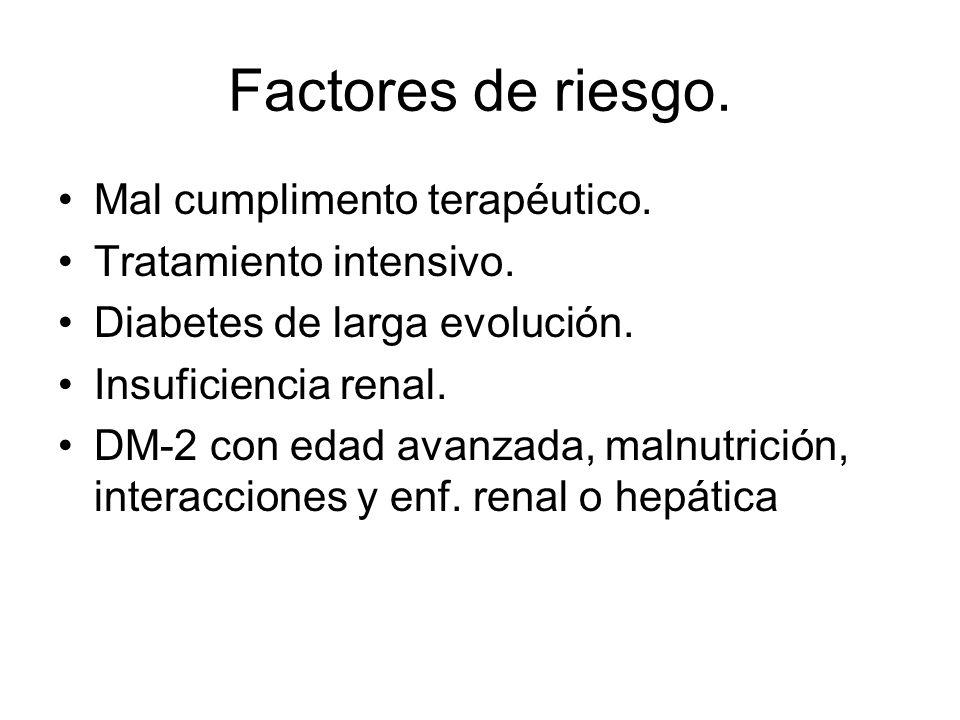 Factores de riesgo. Mal cumplimento terapéutico. Tratamiento intensivo. Diabetes de larga evolución. Insuficiencia renal. DM-2 con edad avanzada, maln