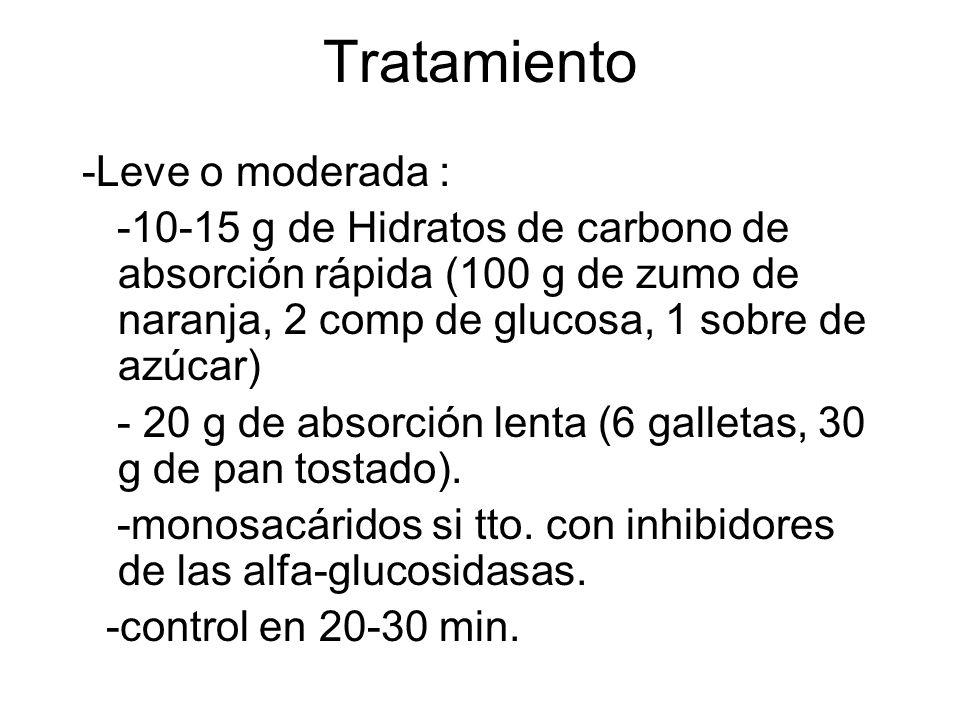 Tratamiento -Leve o moderada : -10-15 g de Hidratos de carbono de absorción rápida (100 g de zumo de naranja, 2 comp de glucosa, 1 sobre de azúcar) -