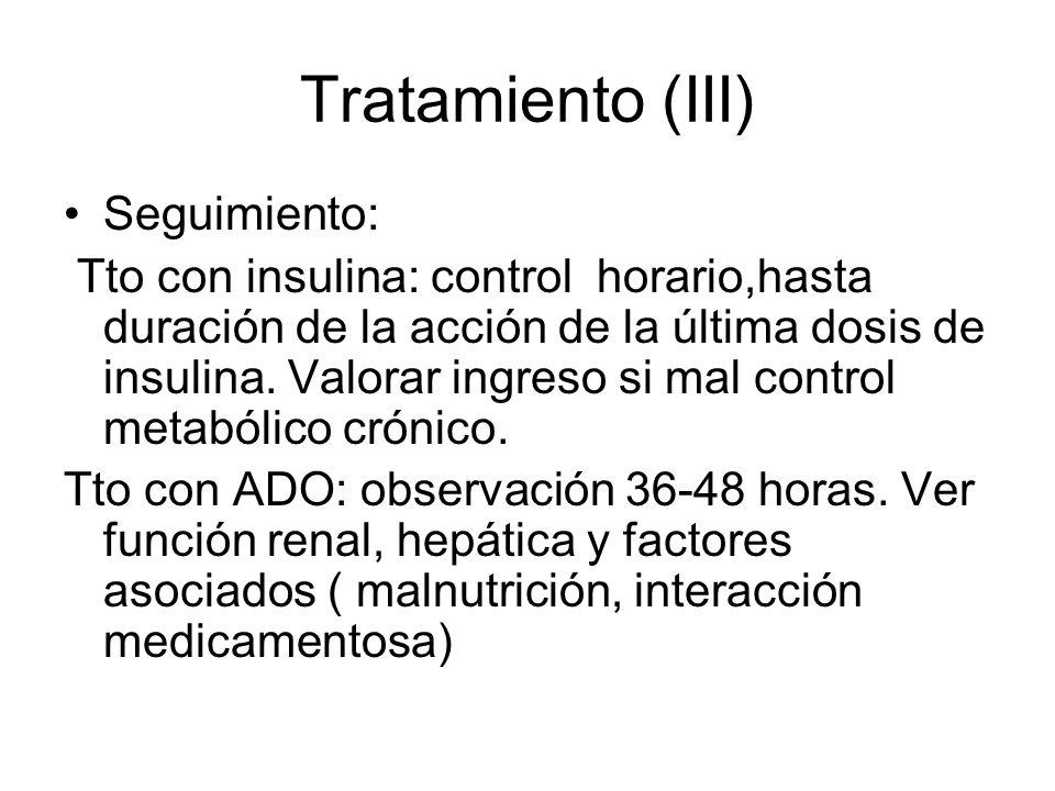 Tratamiento (III) Seguimiento: Tto con insulina: control horario,hasta duración de la acción de la última dosis de insulina. Valorar ingreso si mal co