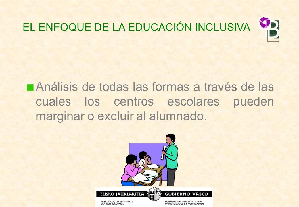 Análisis de todas las formas a través de las cuales los centros escolares pueden marginar o excluir al alumnado. EL ENFOQUE DE LA EDUCACIÓN INCLUSIVA