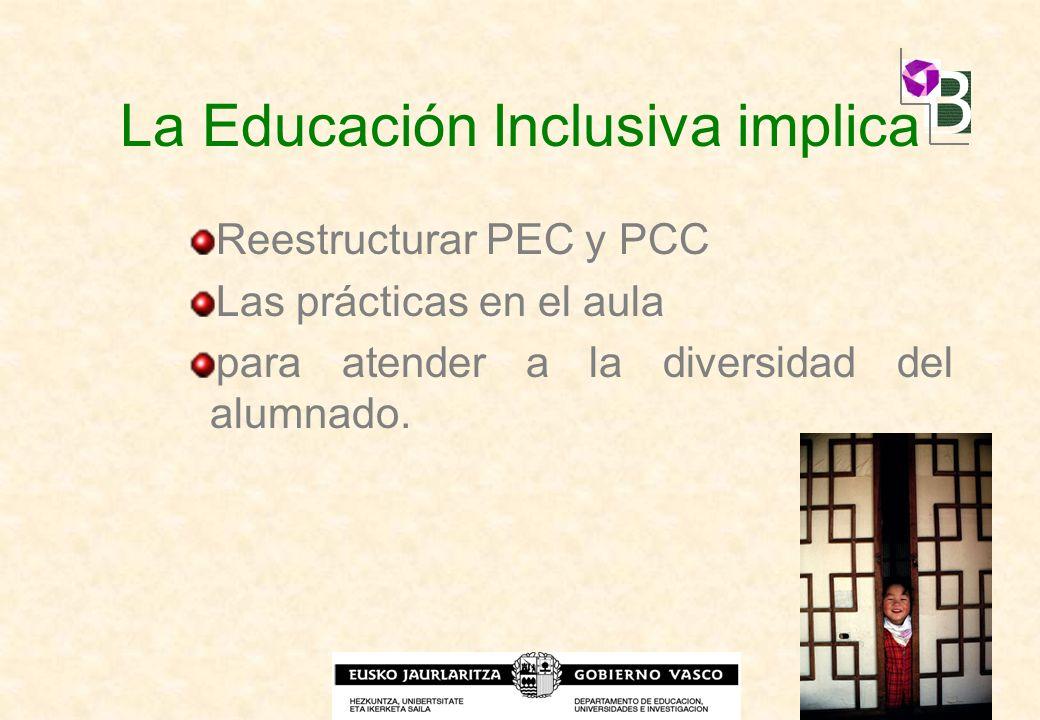 La Educación Inclusiva implica Reestructurar PEC y PCC Las prácticas en el aula para atender a la diversidad del alumnado.