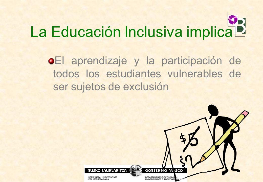 La Educación Inclusiva implica El aprendizaje y la participación de todos los estudiantes vulnerables de ser sujetos de exclusión