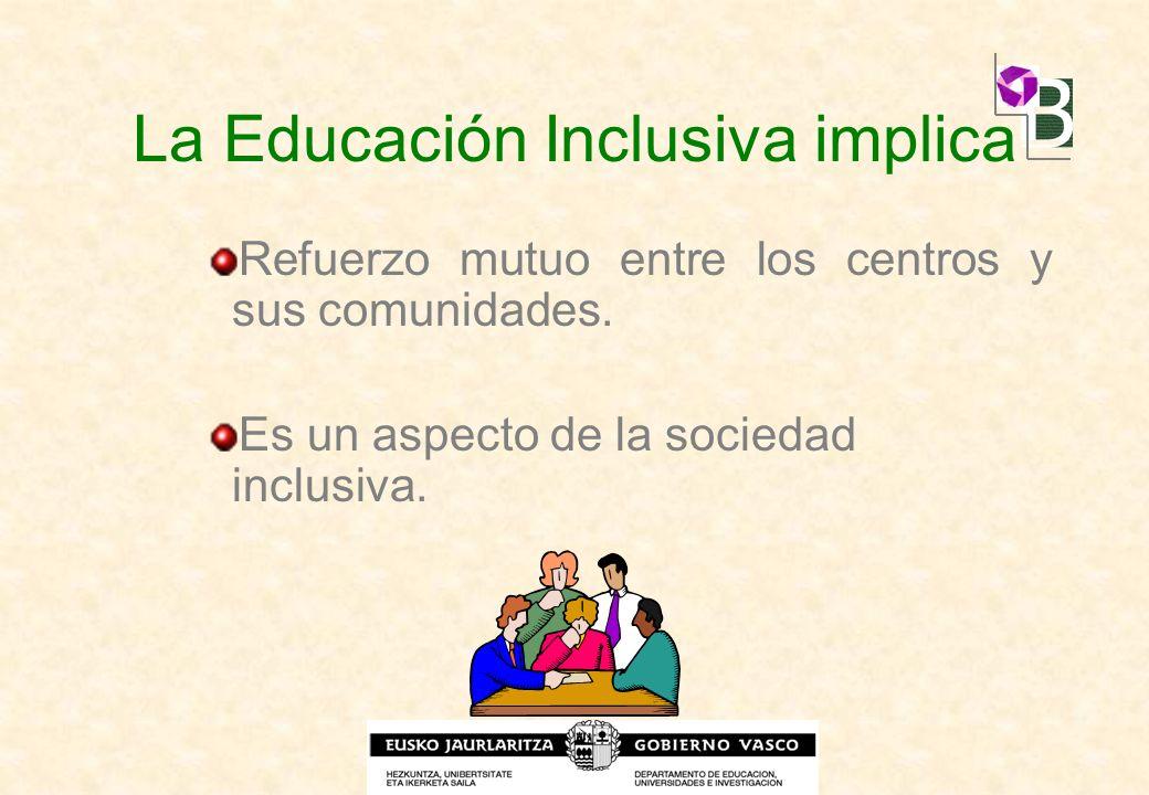 La Educación Inclusiva implica Refuerzo mutuo entre los centros y sus comunidades. Es un aspecto de la sociedad inclusiva.