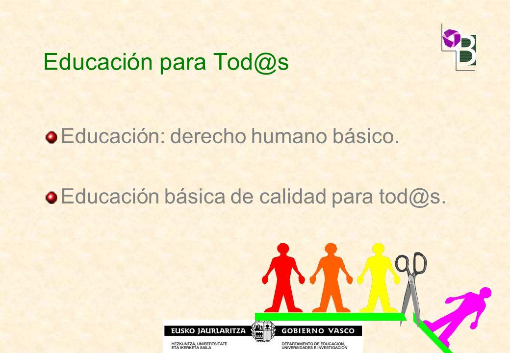 Educación para Tod@s Educación: derecho humano básico. Educación básica de calidad para tod@s.