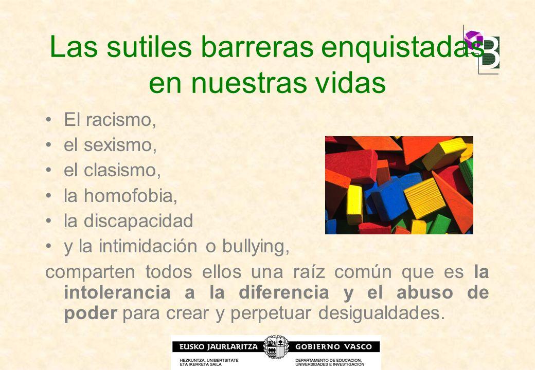 Las sutiles barreras enquistadas en nuestras vidas El racismo, el sexismo, el clasismo, la homofobia, la discapacidad y la intimidación o bullying, co