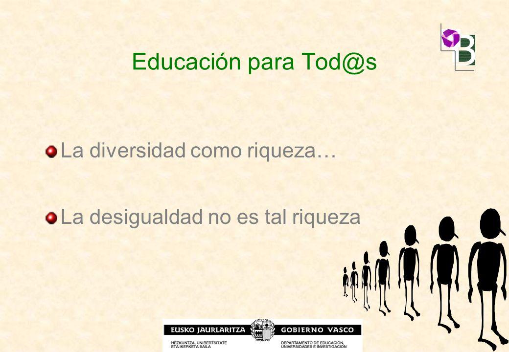 Educación para Tod@s La diversidad como riqueza… La desigualdad no es tal riqueza