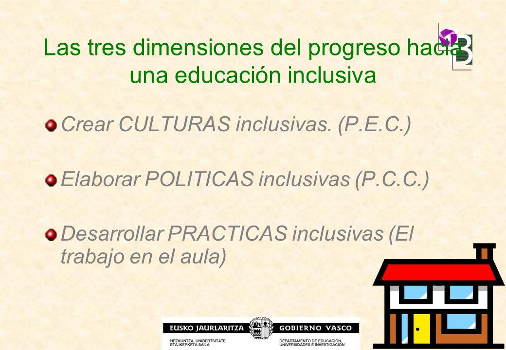 Las tres dimensiones del progreso hacia una educación inclusiva Crear CULTURAS inclusivas. (P.E.C.) Elaborar POLITICAS inclusivas (P.C.C.) Desarrollar