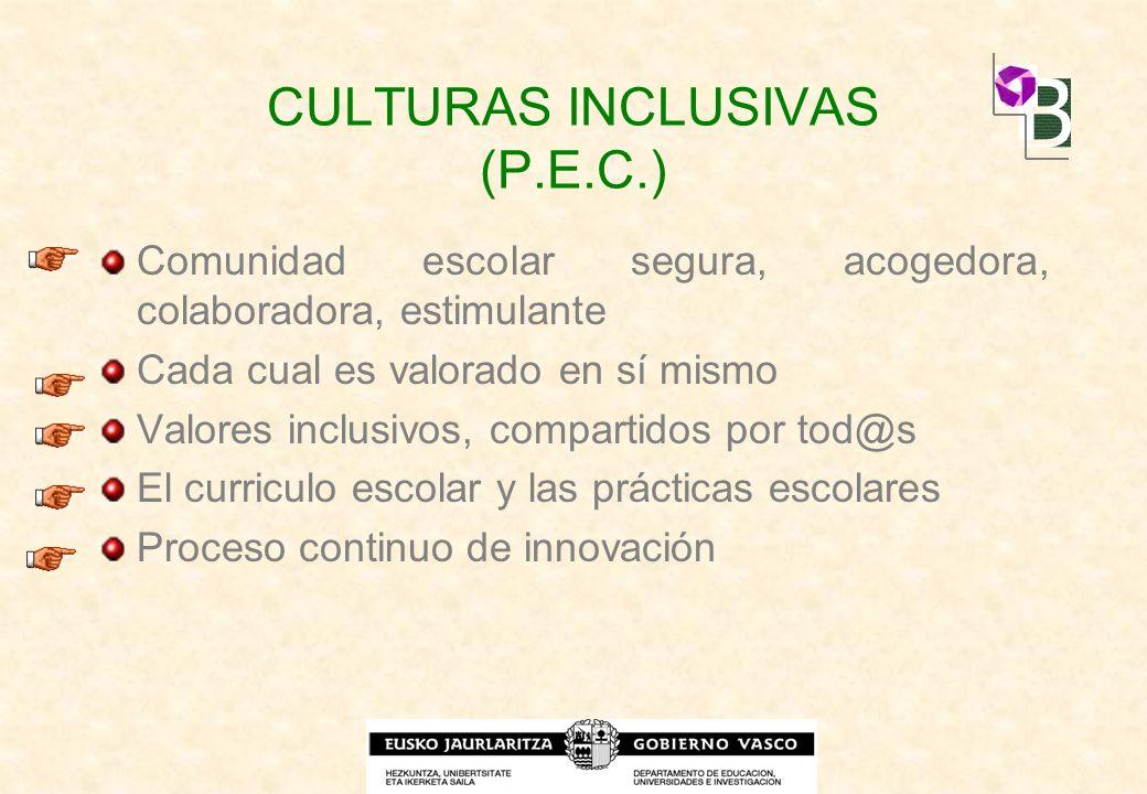 CULTURAS INCLUSIVAS (P.E.C.) Comunidad escolar segura, acogedora, colaboradora, estimulante Cada cual es valorado en sí mismo Valores inclusivos, comp