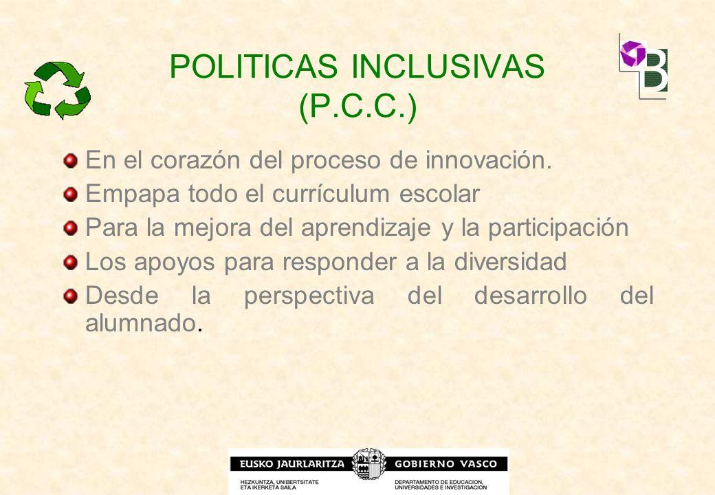 POLITICAS INCLUSIVAS (P.C.C.) En el corazón del proceso de innovación. Empapa todo el currículum escolar Para la mejora del aprendizaje y la participa