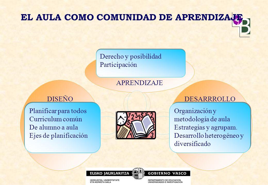 EL AULA COMO COMUNIDAD DE APRENDIZAJE APRENDIZAJE DESARRROLLODISEÑO Planificar para todos Curriculum común De alumno a aula Ejes de planificación Orga