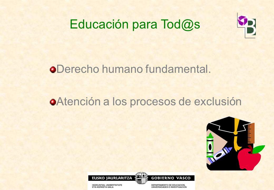 Derecho humano fundamental. Atención a los procesos de exclusión Educación para Tod@s