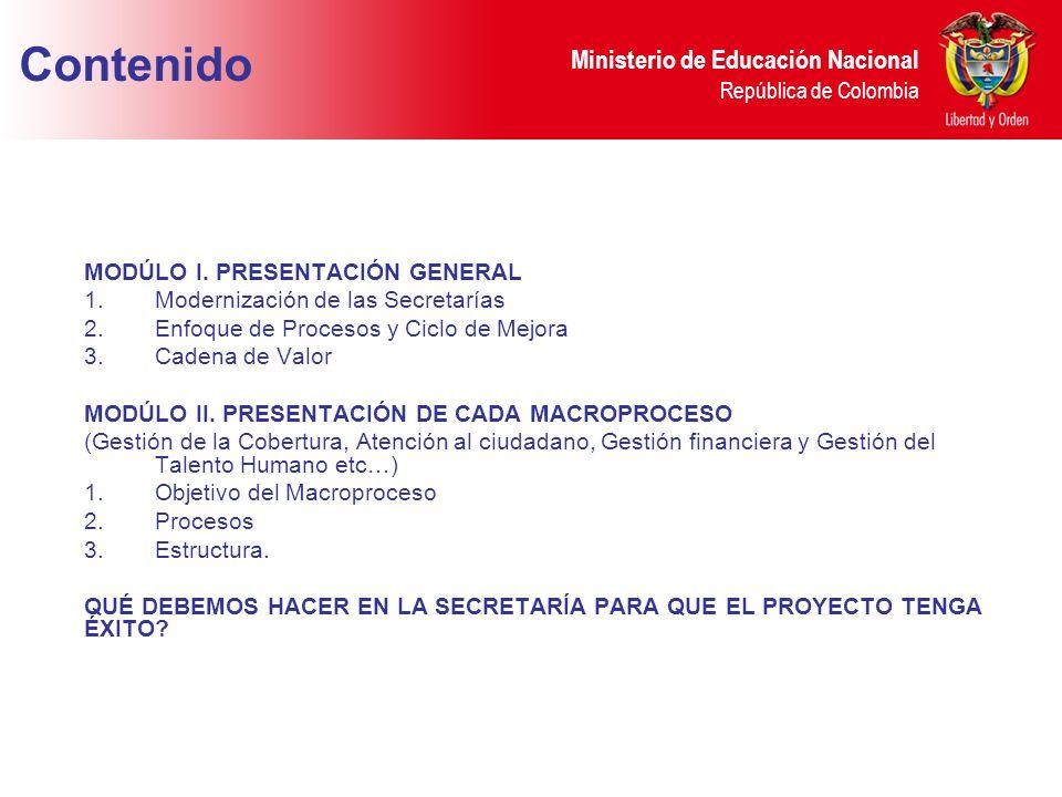 Ministerio de Educación Nacional República de Colombia MODÚLO I. PRESENTACIÓN GENERAL 1.Modernización de las Secretarías 2.Enfoque de Procesos y Ciclo