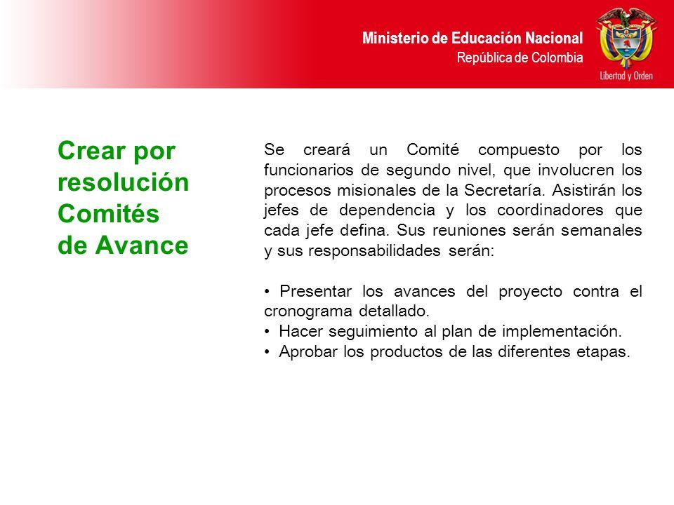 Ministerio de Educación Nacional República de Colombia Crear por resolución Comités de Avance Se creará un Comité compuesto por los funcionarios de se