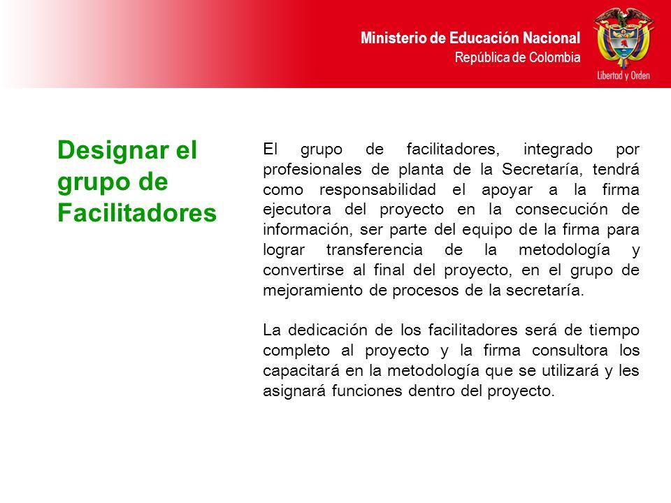 Ministerio de Educación Nacional República de Colombia Designar el grupo de Facilitadores El grupo de facilitadores, integrado por profesionales de pl