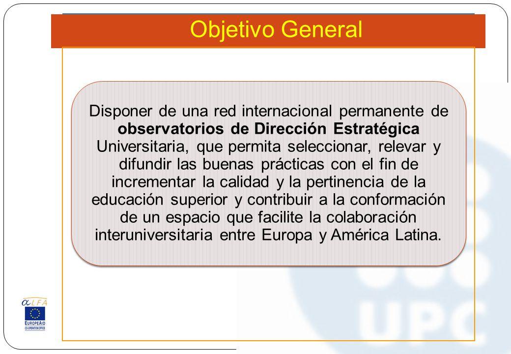 Objetivo General Disponer de una red internacional permanente de observatorios de Dirección Estratégica Universitaria, que permita seleccionar, releva