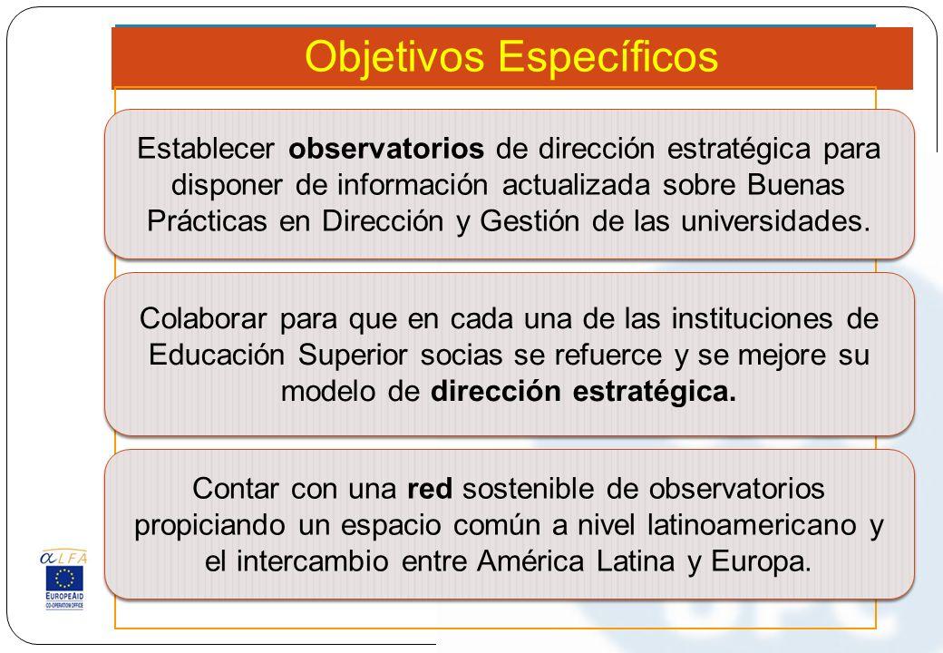 Objetivos Específicos Establecer observatorios de dirección estratégica para disponer de información actualizada sobre Buenas Prácticas en Dirección y Gestión de las universidades.