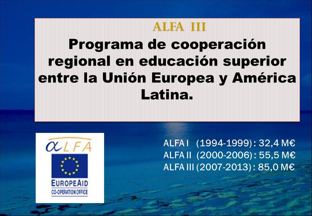 ALFA ALFA Programa de cooperación regional en educación superior entre la Unión Europea y América Latina.