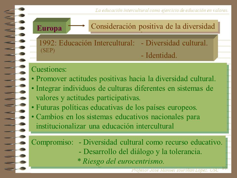 10 Europa Consideración positiva de la diversidad Cuestiones: Promover actitudes positivas hacia la diversidad cultural. Integrar individuos de cultur