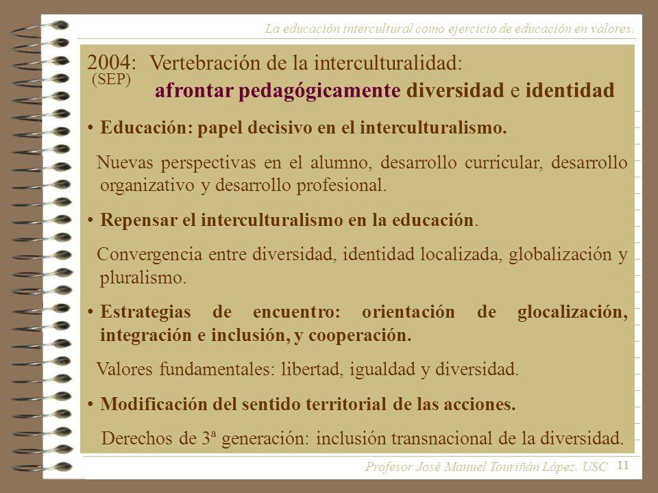 11 2004: Educación: papel decisivo en el interculturalismo. Nuevas perspectivas en el alumno, desarrollo curricular, desarrollo organizativo y desarro