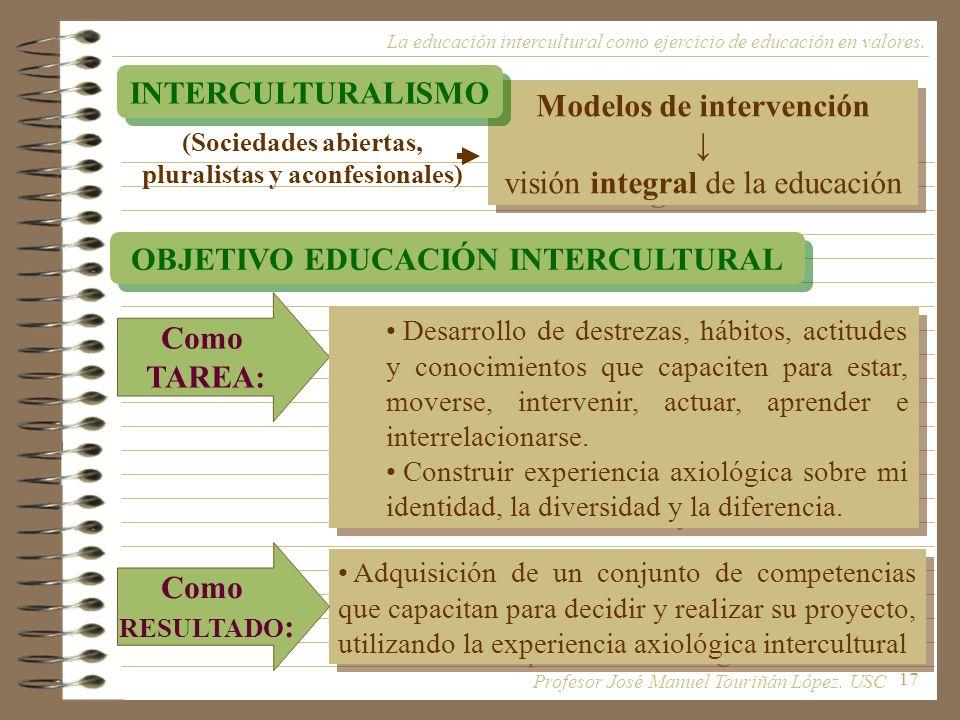 17 Modelos de intervención visión integral de la educación Modelos de intervención visión integral de la educación La educación intercultural como eje
