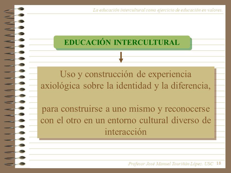 18 La educación intercultural como ejercicio de educación en valores. EDUCACIÓN INTERCULTURAL Uso y construcción de experiencia axiológica sobre la id