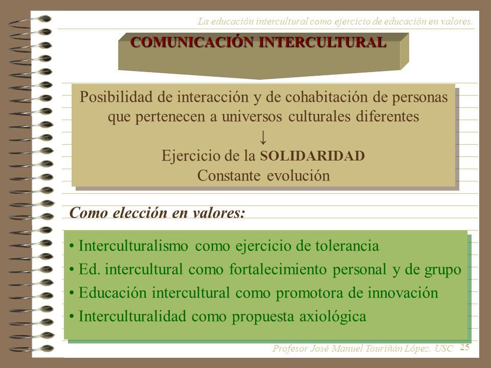 25 La educación intercultural como ejercicio de educación en valores. Posibilidad de interacción y de cohabitación de personas que pertenecen a univer