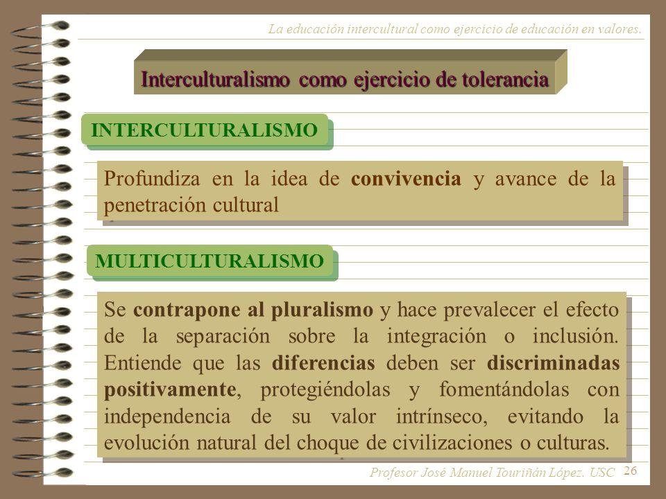 26 La educación intercultural como ejercicio de educación en valores. Interculturalismo como ejercicio de tolerancia INTERCULTURALISMO MULTICULTURALIS