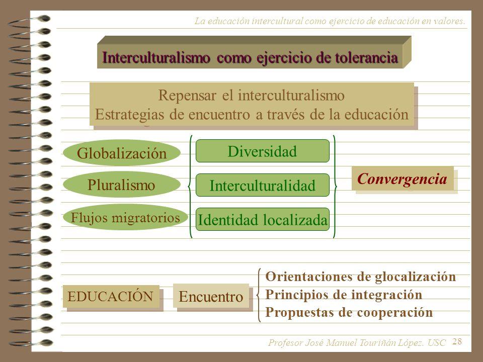 28 La educación intercultural como ejercicio de educación en valores. Interculturalismo como ejercicio de tolerancia Repensar el interculturalismo Est