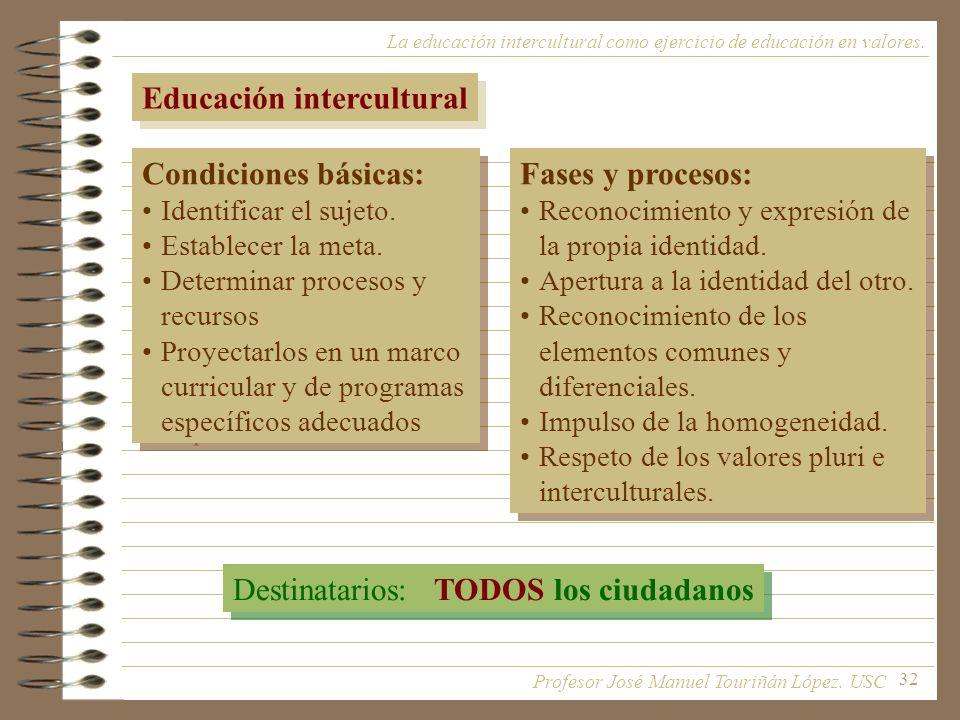 32 La educación intercultural como ejercicio de educación en valores. Educación intercultural Condiciones básicas: Identificar el sujeto. Establecer l