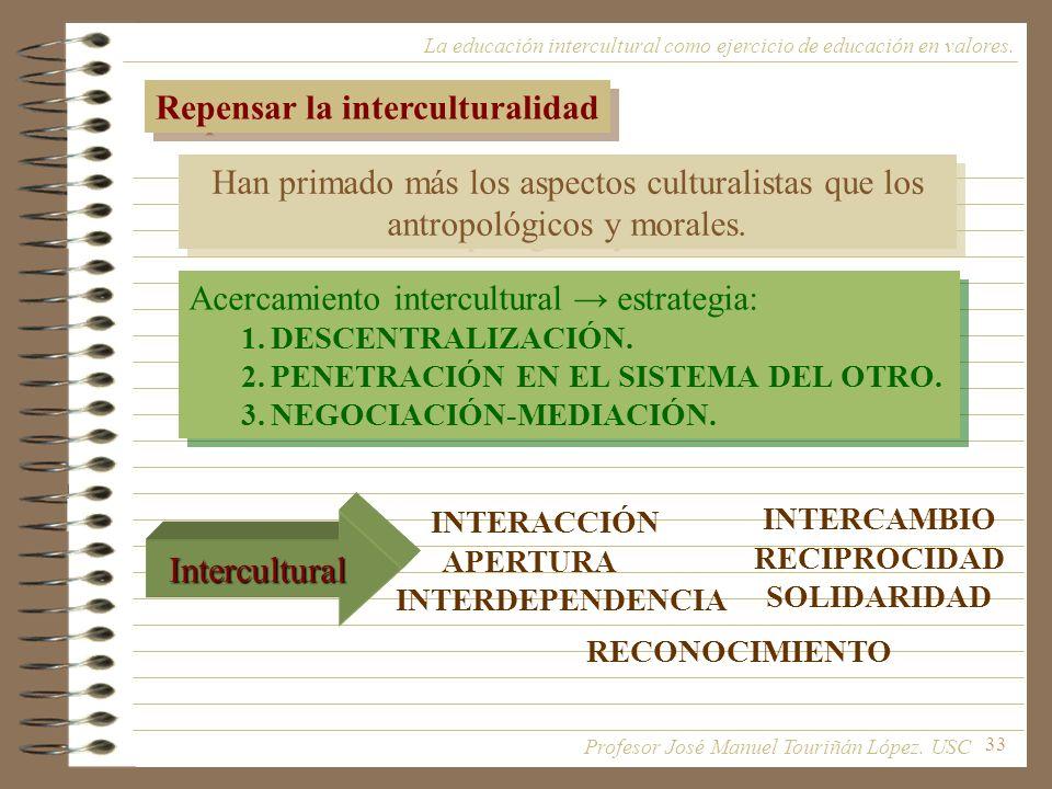 33 La educación intercultural como ejercicio de educación en valores. Repensar la interculturalidad Han primado más los aspectos culturalistas que los