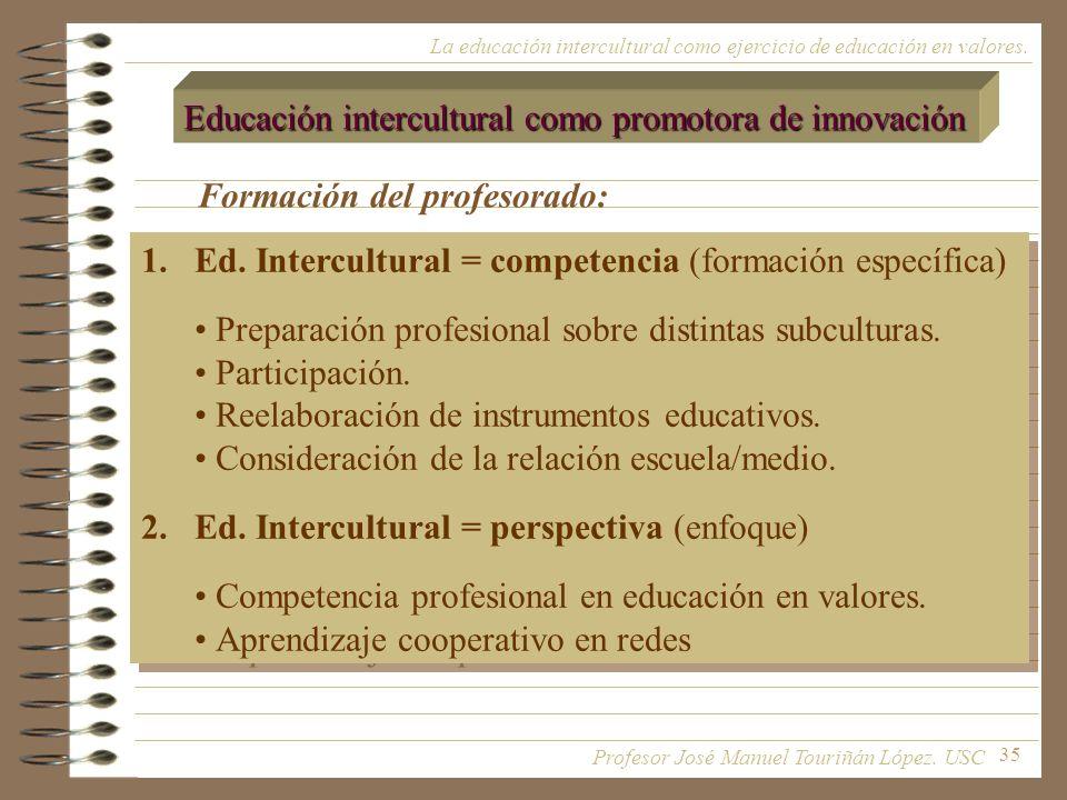 35 La educación intercultural como ejercicio de educación en valores. Educación intercultural como promotora de innovación Formación del profesorado:
