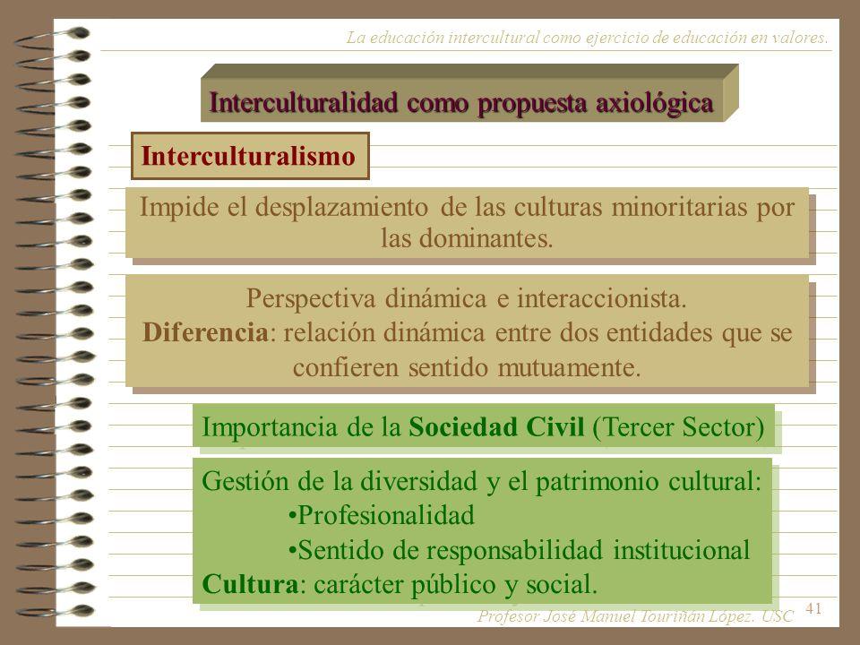 41 La educación intercultural como ejercicio de educación en valores. Interculturalidad como propuesta axiológica Interculturalismo Impide el desplaza