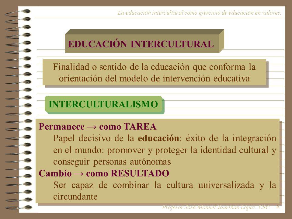 17 Modelos de intervención visión integral de la educación Modelos de intervención visión integral de la educación La educación intercultural como ejercicio de educación en valores.