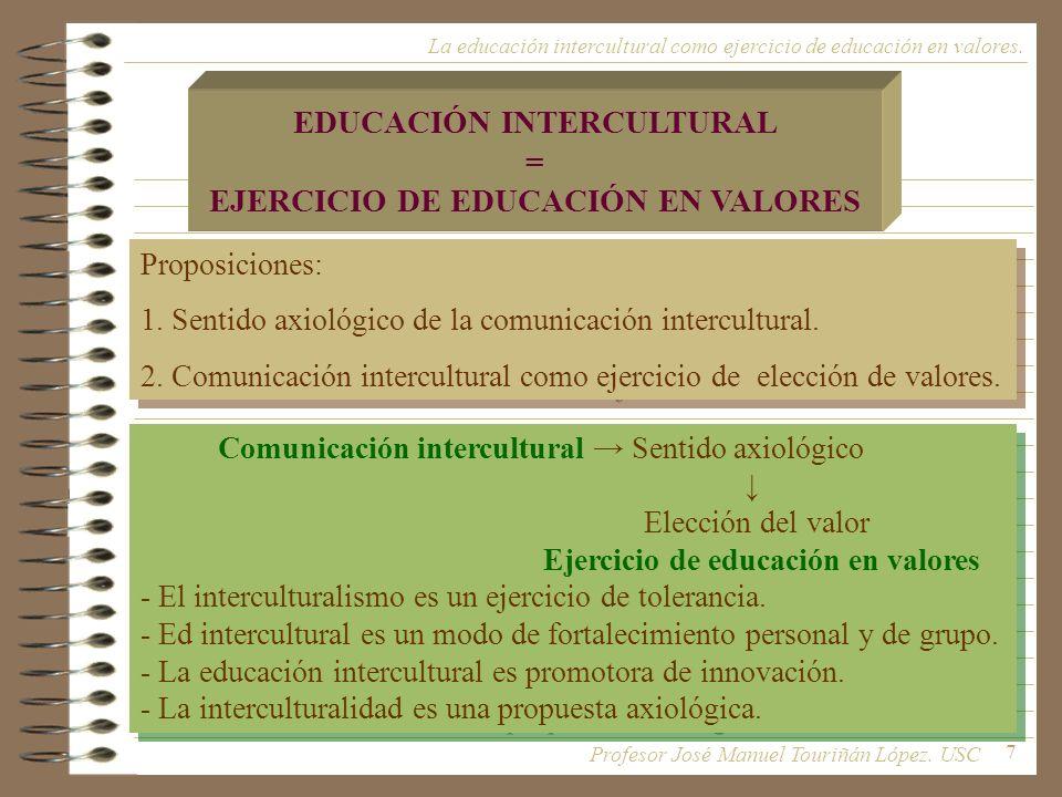 7 EDUCACIÓN INTERCULTURAL = EJERCICIO DE EDUCACIÓN EN VALORES Proposiciones: 1. Sentido axiológico de la comunicación intercultural. 2. Comunicación i