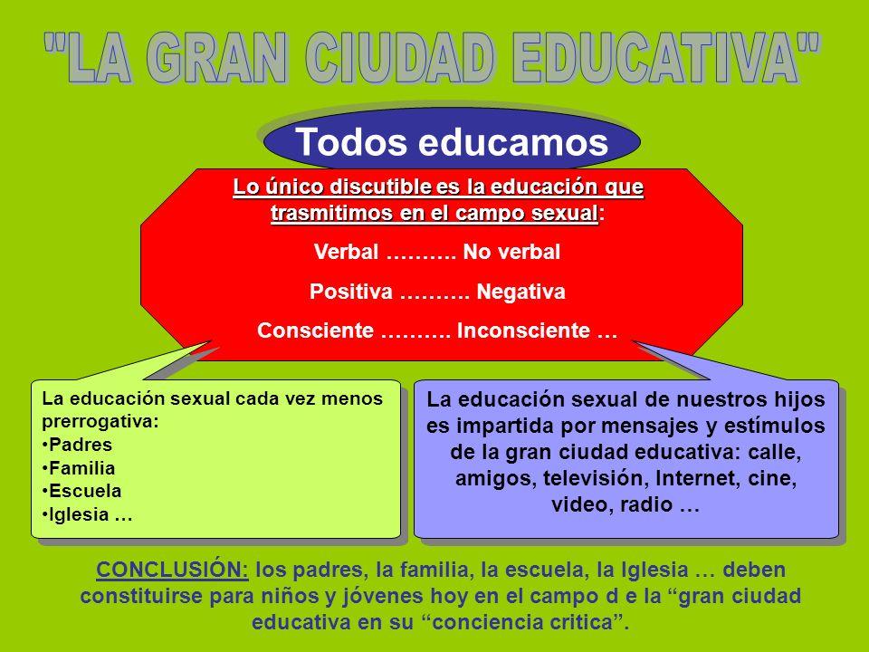 Todos educamos Lo único discutible es la educación que trasmitimos en el campo sexual Lo único discutible es la educación que trasmitimos en el campo sexual: Verbal ……….