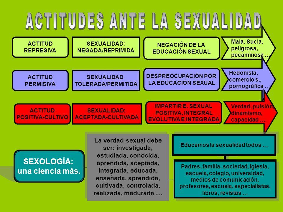 ACTITUD REPRESIVA ACTITUD PERMISIVA ACTITUD POSITIVA-CULTIVO SEXOLOGÍA: una ciencia más.