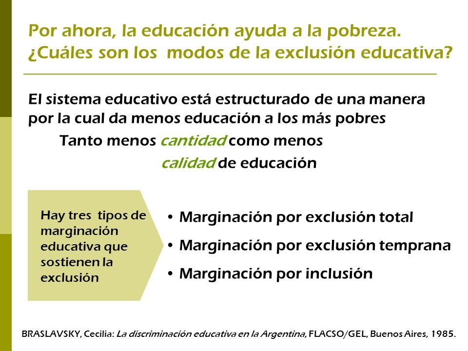 Por ahora, la educación ayuda a la pobreza. ¿Cuáles son los modos de la exclusión educativa? El sistema educativo está estructurado de una manera por
