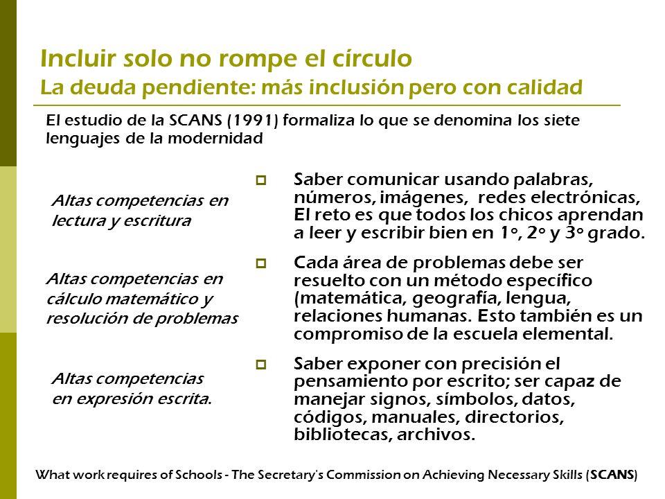 Incluir solo no rompe el círculo La deuda pendiente: más inclusión pero con calidad Saber comunicar usando palabras, números, imágenes, redes electrón