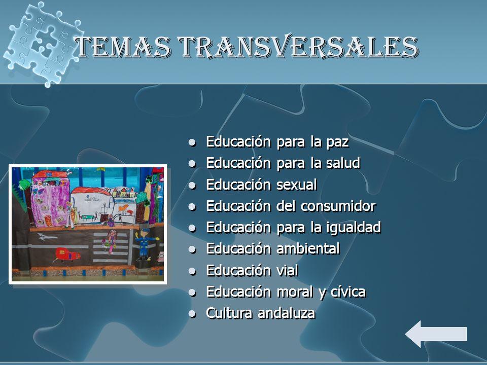 TEMAS TRANSVERSALES Educación para la paz Educación para la salud Educación sexual Educación del consumidor Educación para la igualdad Educación ambie