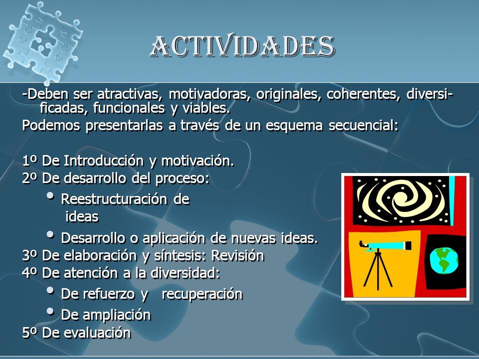 ACTIVIDADES -Deben ser atractivas, motivadoras, originales, coherentes, diversi- ficadas, funcionales y viables. Podemos presentarlas a través de un e