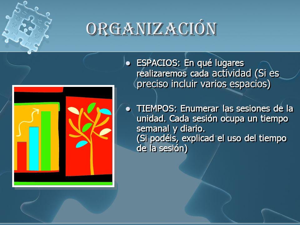 ORGANIZACIÓN ESPACIOS: En qué lugares realizaremos cada actividad (Si es preciso incluir varios espacios) TIEMPOS: Enumerar las sesiones de la unidad.